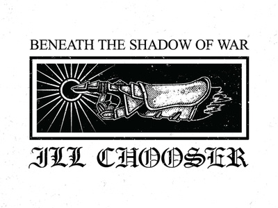 ILL CHOOSER design for sale art graphic design black white lotr lord of the rings knight armor skeleton black letter ill chooser