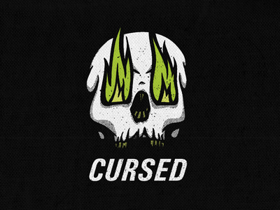 Cursed cursed skeleton skull fire green white black graphic design art design for sale