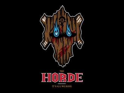 THE HORDE horde flame wooden mask world of warcraft wow logo design illustration vector art graphic design