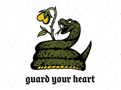 Guard Your Heart t shirt apparel texture blackletter distressed heart rose snake
