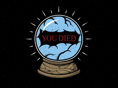 You Died video games t shirt merch distressed cloudy future crystal ball dark souls you died