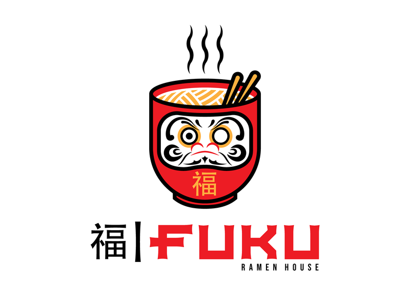 FUKU Ramen House 福 noodles daruma doll chopsticks logo design japan ramen fuku logo illustration vector art graphic design