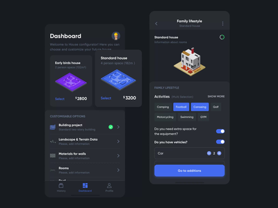 House configurator settings house builidng dark mobile design dashboard app animation ux ui