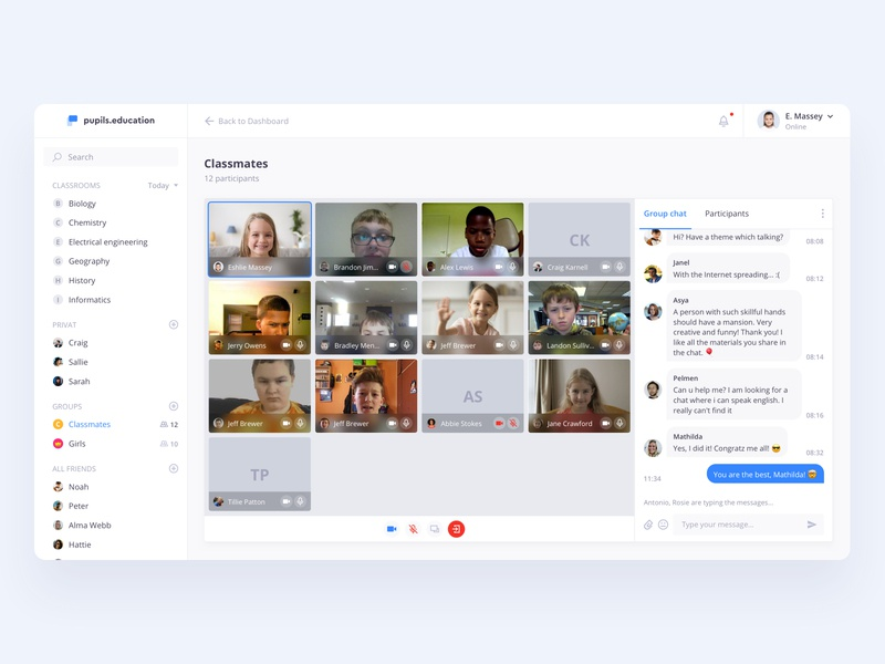 Video conference - online school lesson online education education school group call video call chat video conference video design dashboard ux ui