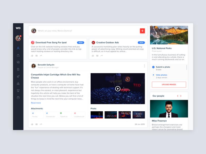 Web Dashboard - News page articles widgets news ui ux sketch desktop design dashboard