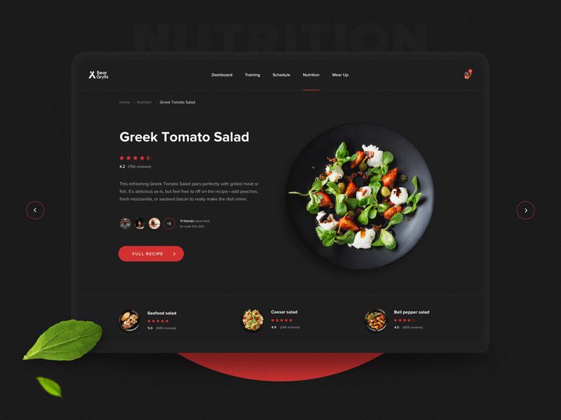 Fitness App desktop ui ux app healthy eats food web nutrition fitness app