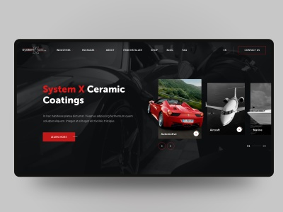 Ceramic Coatings website coating car marine airplane auto protection ceramic web banner animation cards ui ux design sketch