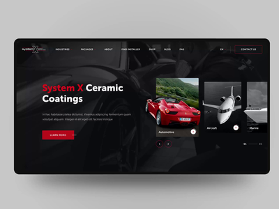 Ceramic Coatings website coating car marine airplane auto protection ceramic web banner animation cards ui ux design sketch