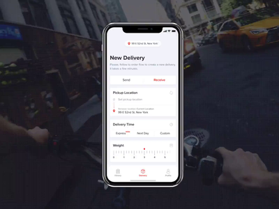 Delivery App - Pickup Location ux ui ios product delivery mobile app animation road map