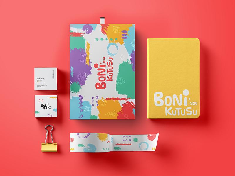 Branding / Boni'nin Kutusu bussiness card stationery colorful packaging kids box logo box design brushes branding