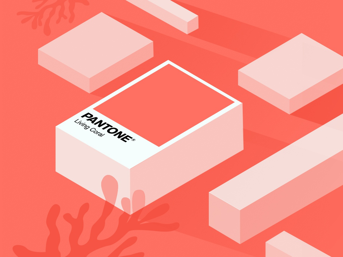 Pantone 2019 2019 photoshop design living coral isometric illustration pantone2019 pantone