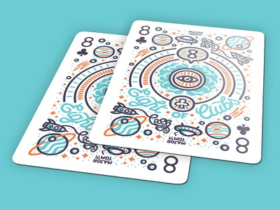 ♣ 8 of Clubs - Playing Arts ♣ major tom bowie astronaut space mind infinity universe eight clubs playing cards illustration vector
