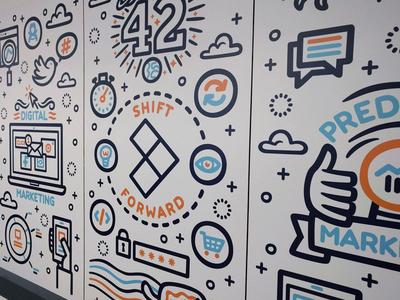 Shift Forward Mural portugal galaxy pop culture marketing technology startup office wall typography digital art vector