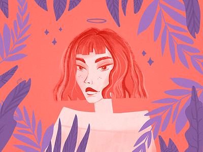 Portrait of a Girl 🔮🌿 photoshop poster floral plants trend livingcoral coral pantone colorswatch pallette woman girl character texture digitalart art design drawing illustration