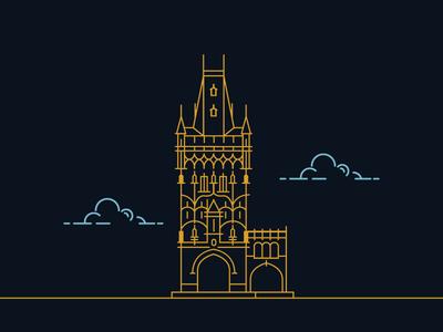 Powder Tower In Prague identity corporate branding designer illustrator graphic creative minimal modern mark design logo