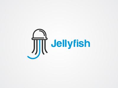 Jellyfish minimal icon adobe illustration ui typography drawing illustrator brand designer mark modern logo design