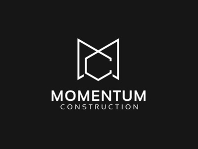 Momentum Constructions caligraphy character corporate icon illustration adobe typography brand identity drawing branding illustrator designer logo graphic minimal mark modern creative design