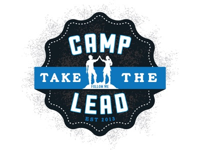 Camp Take the Lead badge camping rustic distressed victory summit celebration summer scouts