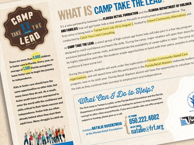 Camp Take the Lead Flyer rustic camp brochure flyer nostalgic summer badge