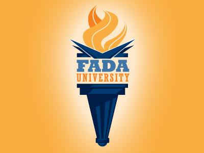 FADA University logo car education flames torch