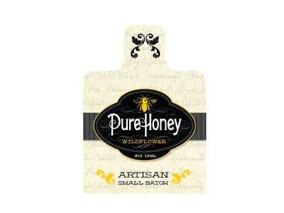 Pure Honey Packet honey packaging label black gold vintage