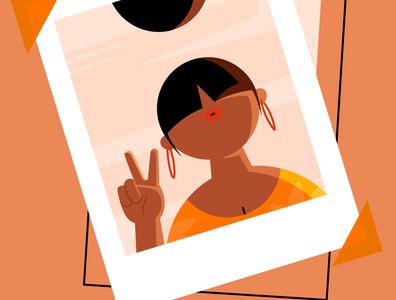 Polaroid instagram polaroid social selfie woman character vector illustration