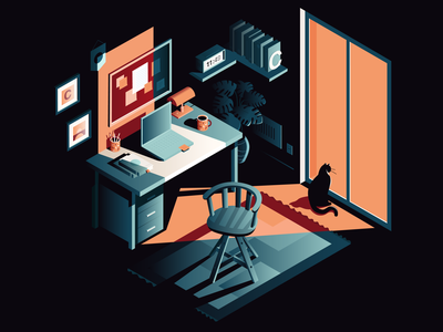 Copycat shadow isometric light desk office cat vector illustration