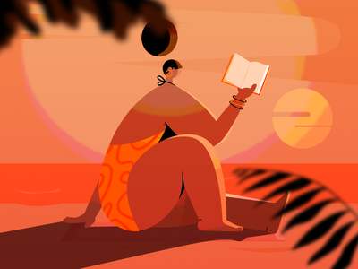 Beach woman sea summer sunset sun book beach vector character illustration