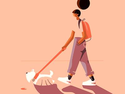 Dog walking sunset backpack park walking dog affinity character vector illustration