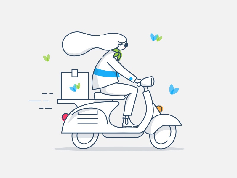 Scooter delivery package bike scooter butterflies girl blue grey lines vector characters illustration