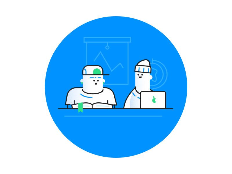Dudes green blue school laptop vector characters illustration