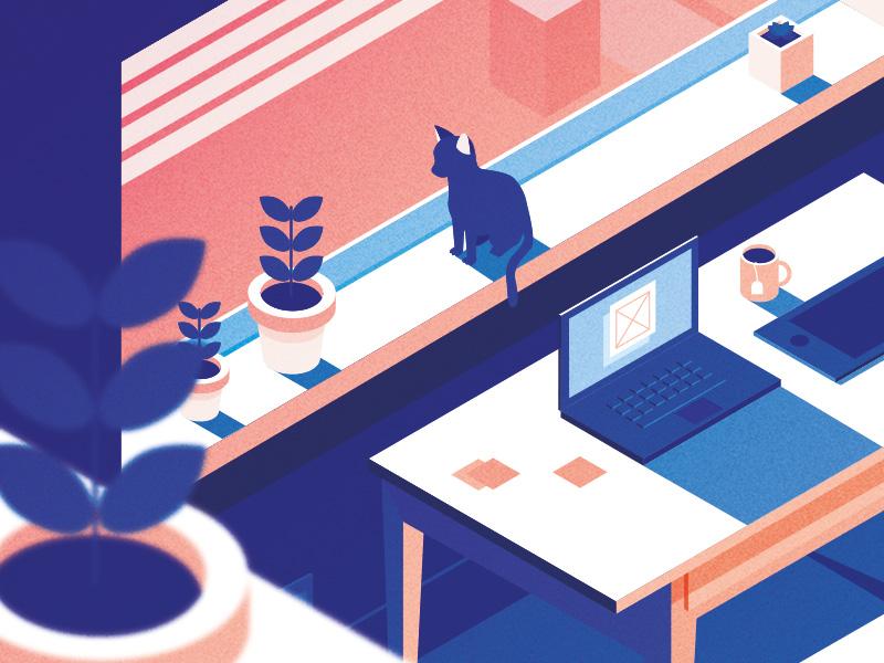 Closeup illustration vector isometric office cat desk laptop