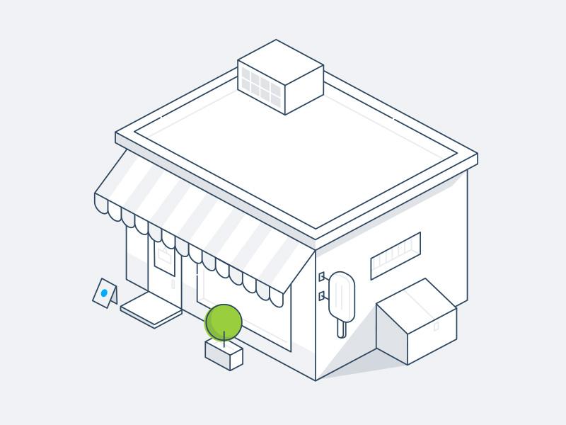 Store ice cream green grey line store vector illustration