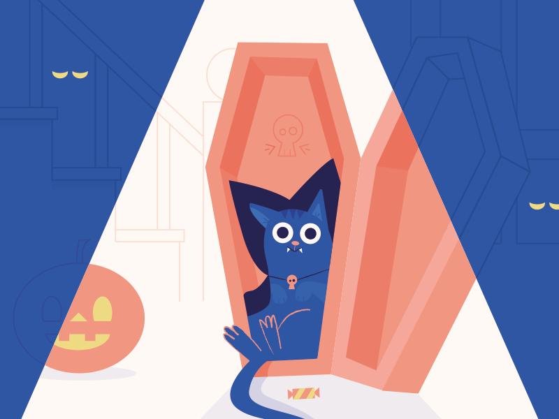 Happy Halloween skull coffin pumpkin blue pink vector cat halloween