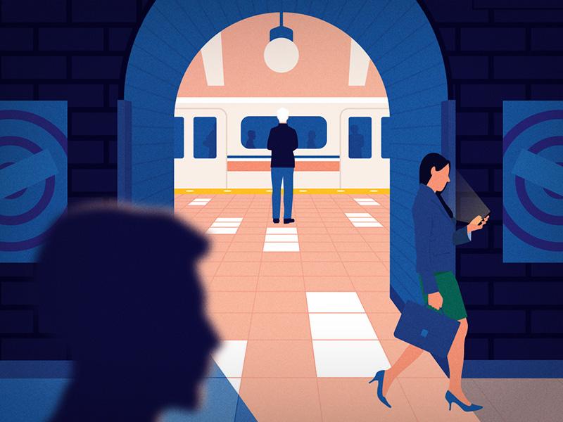 Subway train pink blue walking people vector tube subway