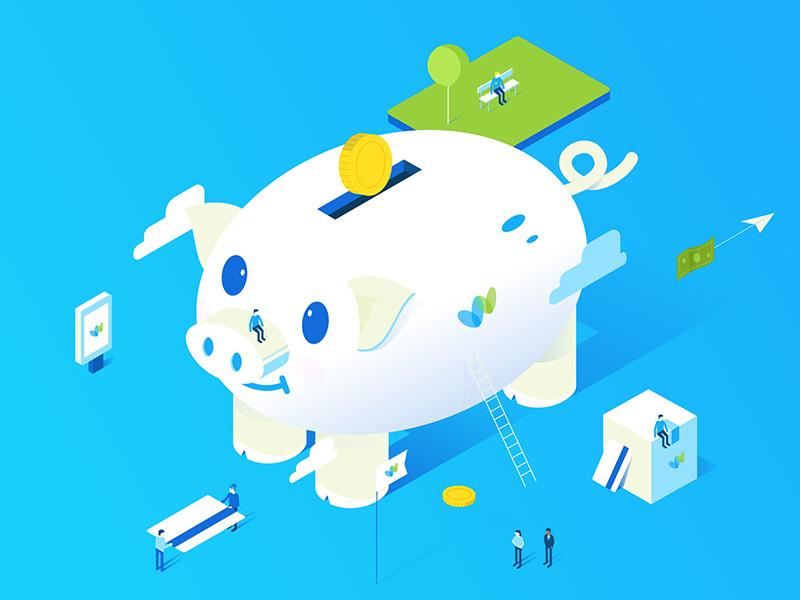 Piggy blue transfer card money letter isometric vector illustration