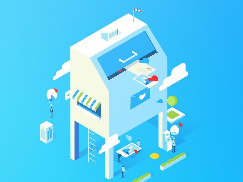 Mailbox blue transfer card money letter isometric vector illustration