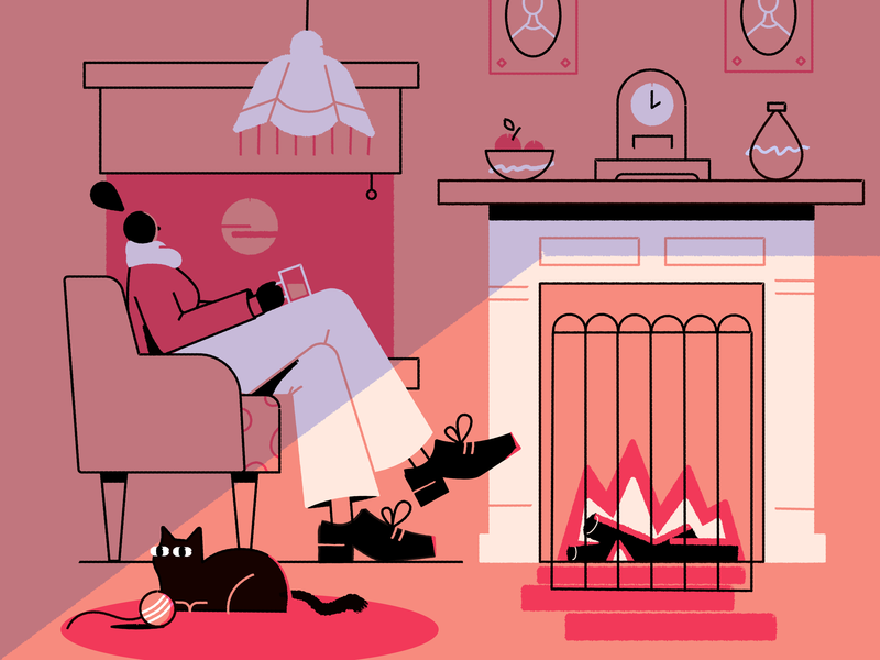 Living Room fire winter room fireplace cat character vector illustration