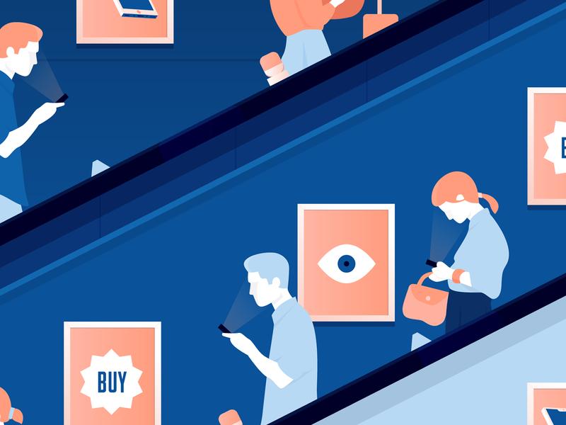 Society illustrator blue character vector illustration