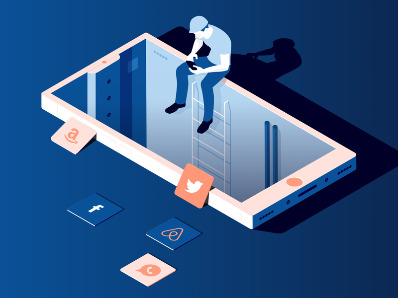 Fix the internet app mobile isometric website blue character vector illustration