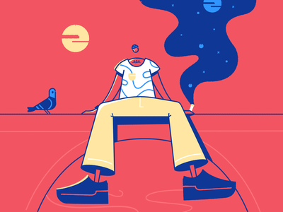 Bridge bridge sun pigeon affinitydesigner affinity character vector illustration