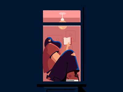 Window light window books reading blue character vector illustration