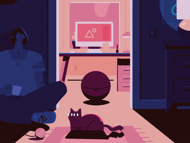 Home Office affinity designer affinity desk office home office cat blue character vector illustration