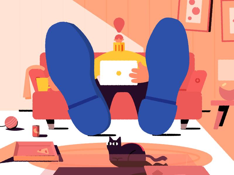Streaming laptop streaming living room affinity designer affinity character vector illustration
