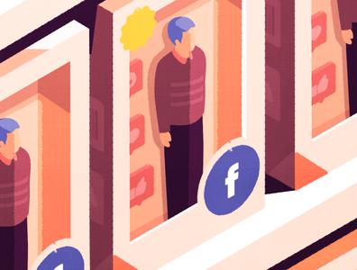Shelves designer affinity affinitydesigner likes facebook social toy data store isometric vector illustration