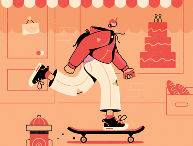sk8ter street skateboard skate affinity character vector illustration