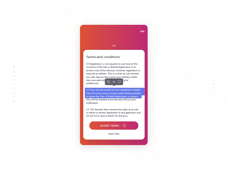 Daily UI #004 - Terms and conditions select terms and conditions ui daily challenge app