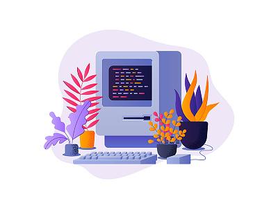 Old Computer retro old illustration plants computer