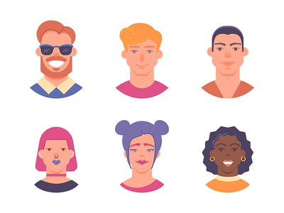 Avatars profile woman man illustration user icons people face character avatars