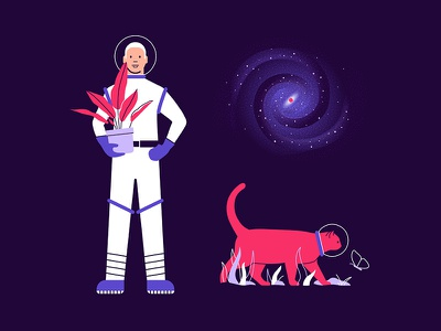 Space illustration outer space plants cat illustration galaxy astronomy astronaut space